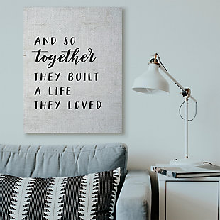 Stupell Together Home Family Inspirational Word On Wood Texture Design 36 x 48 Canvas Wall Art, Black, rollover