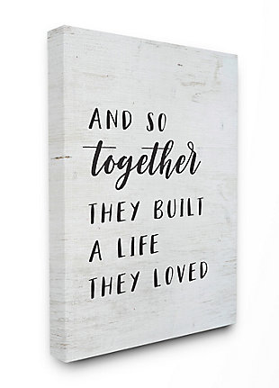 Stupell Together Home Family Inspirational Word On Wood Texture Design 36 x 48 Canvas Wall Art, Black, large