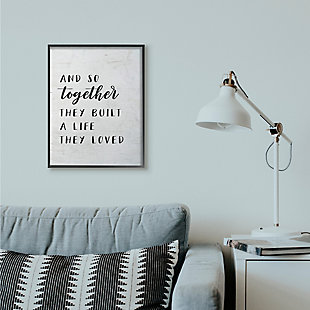 Stupell Together Home Family Inspirational Word On Wood Texture Design 24 x 30 Framed Wall Art, Black, rollover