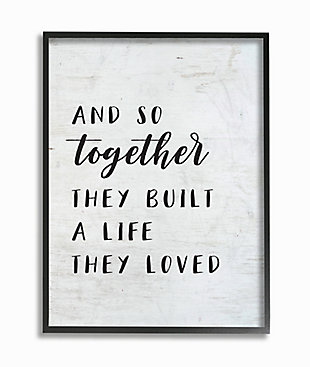 Stupell Together Home Family Inspirational Word On Wood Texture Design 24 x 30 Framed Wall Art, Black, large