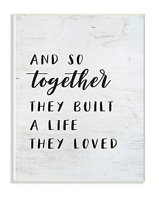 Stupell Together Home Family Inspirational Word On Wood Texture Design 10 x 15 Wood Wall Art, , large