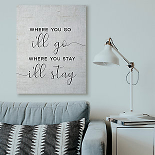 Stupell I'll Go Home Family Inspirational Word On Wood Texture Design 36 x 48 Canvas Wall Art, Black, rollover