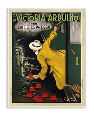 Stupell La Victoria Arduino Cafe Espresso Vintage Inspired Poster 13 x 19 Wood Wall Art, Yellow, large