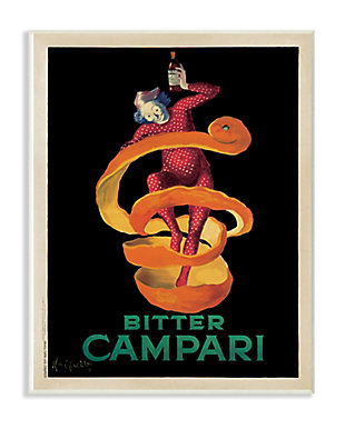 Stupell Bitter Campari Orange Peel Vintage Inspired Poster 13 x 19 Wood Wall Art, Orange, rollover