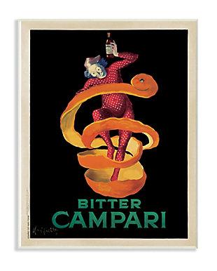 Stupell Bitter Campari Orange Peel Vintage Inspired Poster 13 x 19 Wood Wall Art, Orange, large