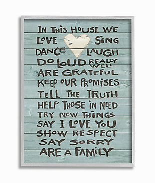 Stupell In This House We Love Family Heart Rustic Wood Look 16 X 20 Framed Wall Art, Green, large