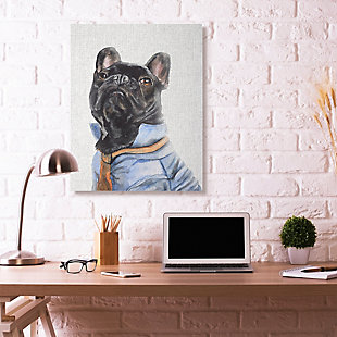 Stupell French Bulldog Fashion Dog Pet Animal Watercolor Painting 36 x 48 Canvas Wall Art, Black, rollover