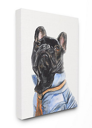 Stupell French Bulldog Fashion Dog Pet Animal Watercolor Painting 36 x 48 Canvas Wall Art, Black, large