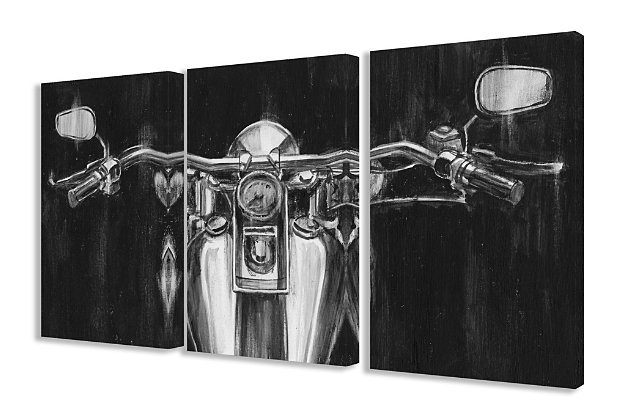 Stupell Black and White Classic Motorcycle 16 x 24 Canvas Wall Art (Set of 3), , large