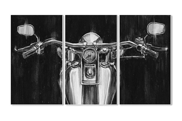 Stupell Black and White Classic Motorcycle 11 x 17 Wood Wall Art (Set of 3), , large