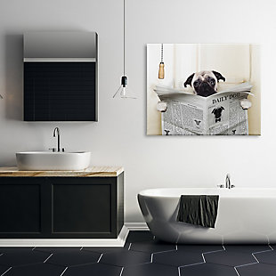 Stupell Pug Reading Newspaper In Bathroom 36 X 48 Canvas Wall Art, White, rollover