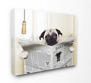 Stupell Pug Reading Newspaper In Bathroom 36 X 48 Canvas Wall Art, White, large