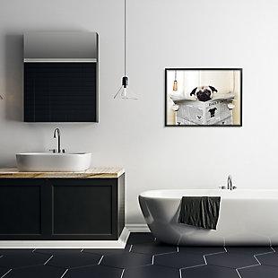 Stupell Pug Reading Newspaper In Bathroom 24 X 30 Framed Wall Art, White, rollover