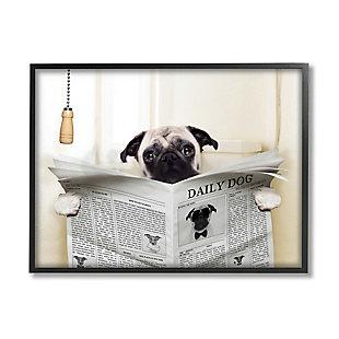 Stupell Pug Reading Newspaper In Bathroom 24 X 30 Framed Wall Art, White, large