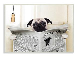 Stupell Pug Reading Newspaper in Bathroom 13 x 19 Wood Wall Art, White, large