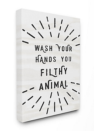 Stupell Black and White Modern Type Wash Your Hands You Filthy Animal 36 x 48 Canvas Wall Art, Beige, large