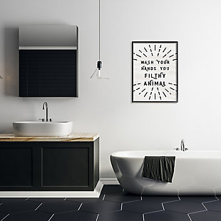 Stupell Black And White Modern Type Wash Your Hands You Filthy Animal 24 X 30 Framed Wall Art, Beige, rollover