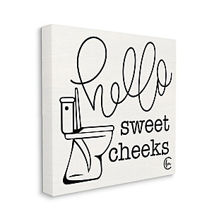 Stupell Toilet Hello Sweet Cheeks Black And White Curly Script Cursive Typography 36 X 36 Canvas Wall Art, Beige, large
