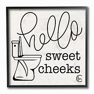 Stupell Toilet Hello Sweet Cheeks Black And White Curly Script Cursive Typography 12 X 12 Framed Wall Art, Beige, large