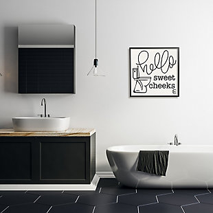 Stupell Toilet Hello Sweet Cheeks Black and White Curly Script Cursive Typography 24 x 24 Framed Wall Art, Beige, rollover