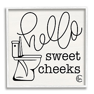 Stupell Toilet Hello Sweet Cheeks Black and White Curly Script Cursive Typography 24 x 24 Framed Wall Art, Beige, large