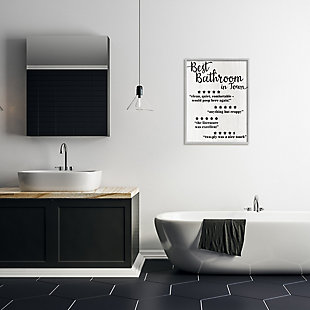 Stupell Five Star Bathroom Funny Word Black And White Textured Design 24 x 30 Framed Wall Art, White, rollover