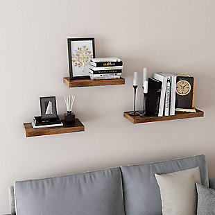 VASAGLE Hanging Shelves Wall Mounted, Rustic Brown, rollover