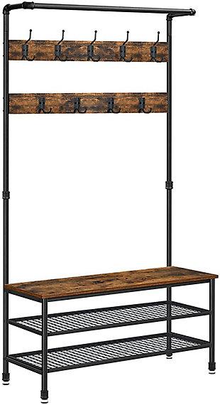 VASAGLE Industrial Coat Rack Storage Bench, , large
