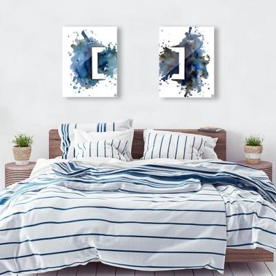Rettangolo Blu Couple 24x36 Acrylic Wall Art Print Set, Multi, large
