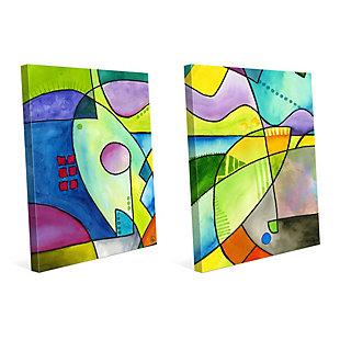 Outline Couple 11x14 Canvas Wall Art Print Set, Multi, large