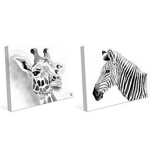 Giraffe and Zebra in Black and White 11x14 Canvas Wall Art Print Set, Multi, large