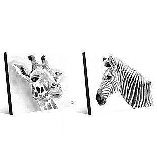 Giraffe and Zebra in Black and White 11x14 Metal Wall Art Print Set, Multi, large