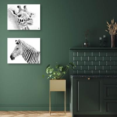 Giraffe and Zebra in Black and White 20x24 Metal Wall Art Print Set, Multi, large