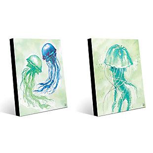 Floating Jellyfish Dance 11x14 Acrylic Wall Art Print Set, Multi, large