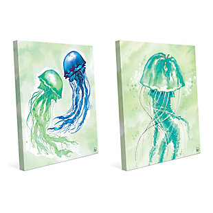 Floating Jellyfish Dance 24x36 Canvas Wall Art Print Set, Multi, large