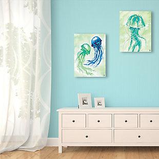Floating Jellyfish Dance 11x14 Metal Wall Art Print Set, Multi, rollover