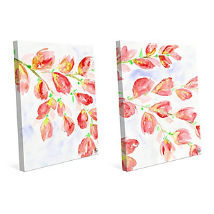 Pink Flowering Branches 11x14 Canvas Wall Art Print Set, Multi, large