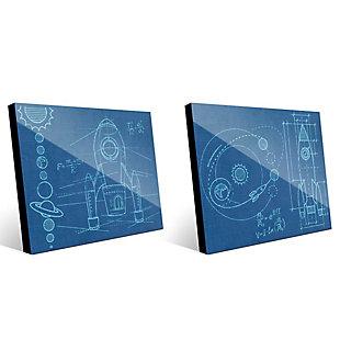 Rocket and Shuttle BluePrint Sets 11x14 Acrylic Wall Art Print Set, Multi, large
