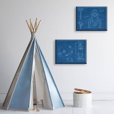 Rocket and Shuttle BluePrint Sets 16x20 Canvas Wall Art Print Set, Multi, large