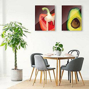Sliced Pepper and Avocado 11x14 Acrylic Wall Art Print Set, Multi, rollover