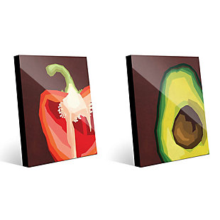 Sliced Pepper and Avocado 11x14 Acrylic Wall Art Print Set, Multi, large
