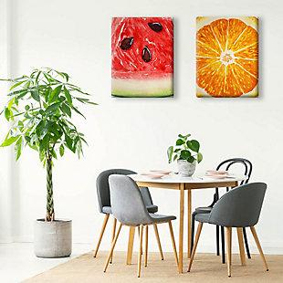 Up Close Watermelon and Orange 11x14 Canvas Wall Art Print Set, Multi, rollover
