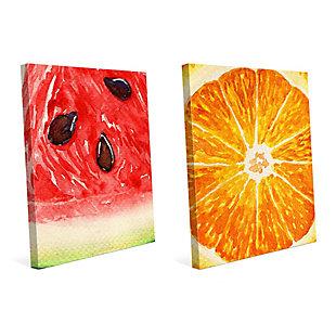 Up Close Watermelon and Orange 11x14 Canvas Wall Art Print Set, Multi, large