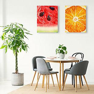 Up Close Watermelon and Orange 11x14 Metal Wall Art Print Set, Multi, rollover