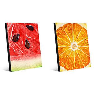 Up Close Watermelon and Orange 11x14 Metal Wall Art Print Set, Multi, large
