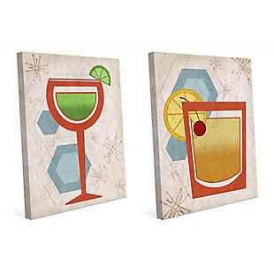 Retro Beverages 11x14 Canvas Wall Art Print Set, Multi, large