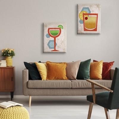 Retro Beverages 16x20 Canvas Wall Art Print Set, Multi, large