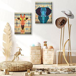 Geometric Giraffe and Elephant 11x14 Canvas Wall Art Print Set, Multi, rollover