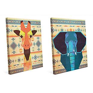 Geometric Giraffe and Elephant 11x14 Canvas Wall Art Print Set, Multi, large