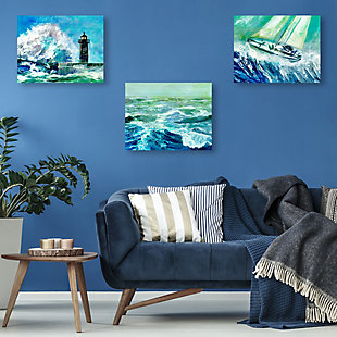 Gale Force Waves 11x14 Metal Wall Art Print Set, Multi, rollover